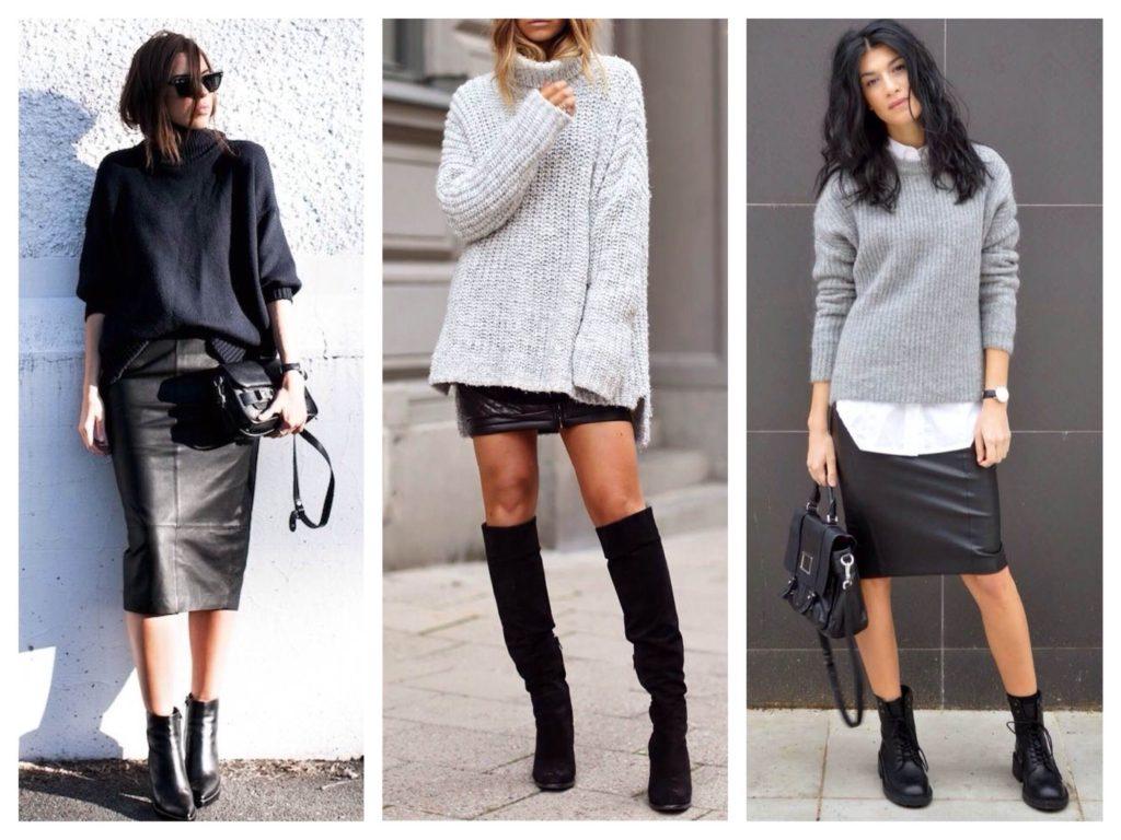 кожаная юбка и свитер
